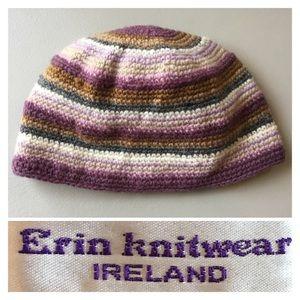BEAUTIFUL hand knit wool ERIN KNITWEAR striped hat